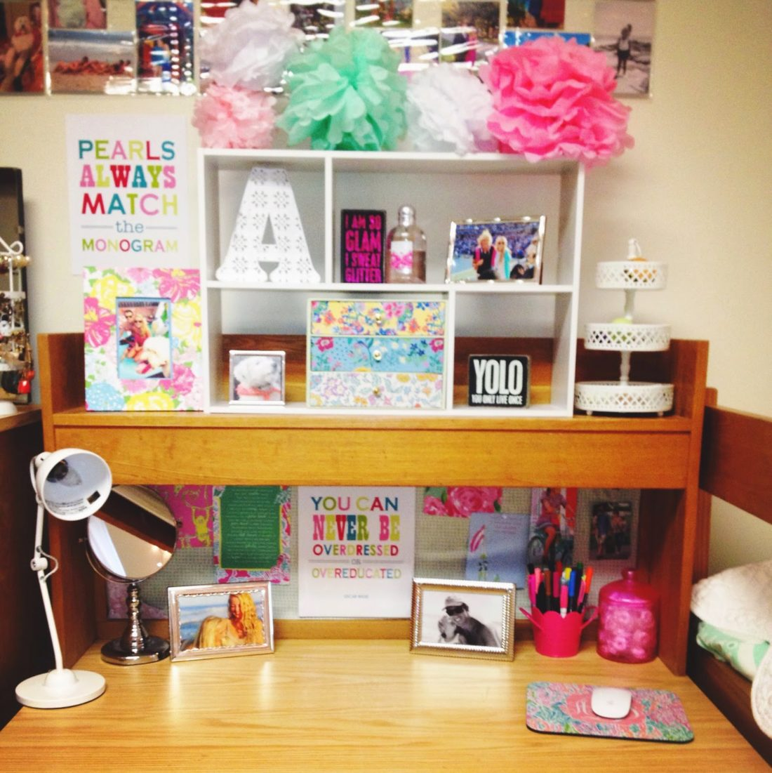 Desk Details: White Light: PB Teen // Mousepad: Etsy // Candy Jar: Urban  Outfitters // Mirror U0026 Frames: T.J. Maxx // Prints: Lilly Pulitzer U0026 Etsy  // Flower ...