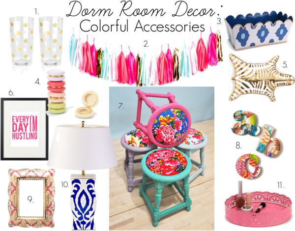 Dorm Room Decor: Colorful Accessories