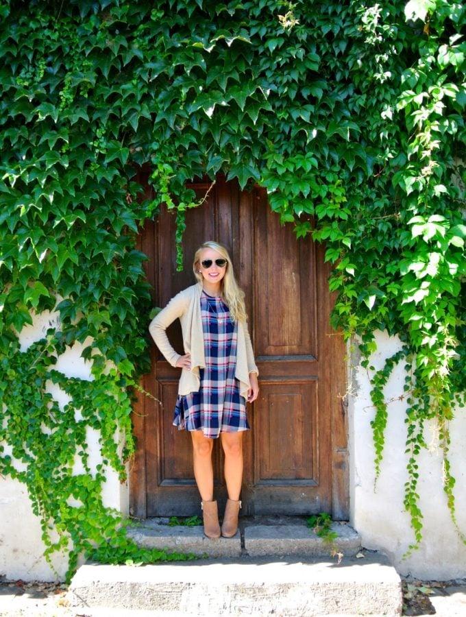 Plaid Shift Dress in Prague