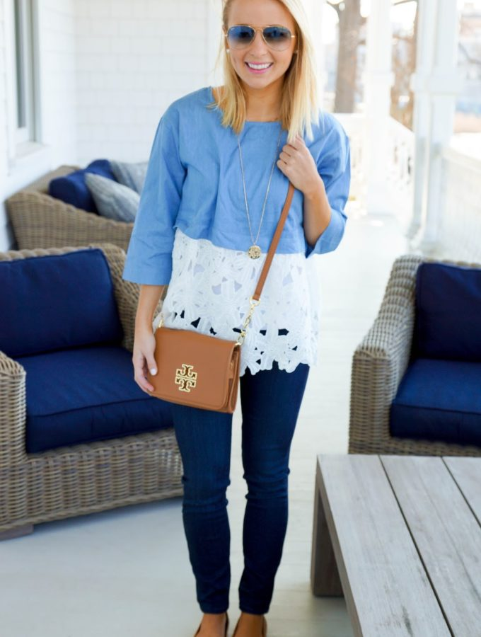 Blue Lace Top + Outfit Staples