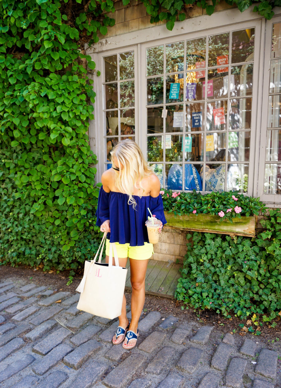 Coffee in Nantucket Off the Shoulder Top and Lilly Pulitzer Shorts-3