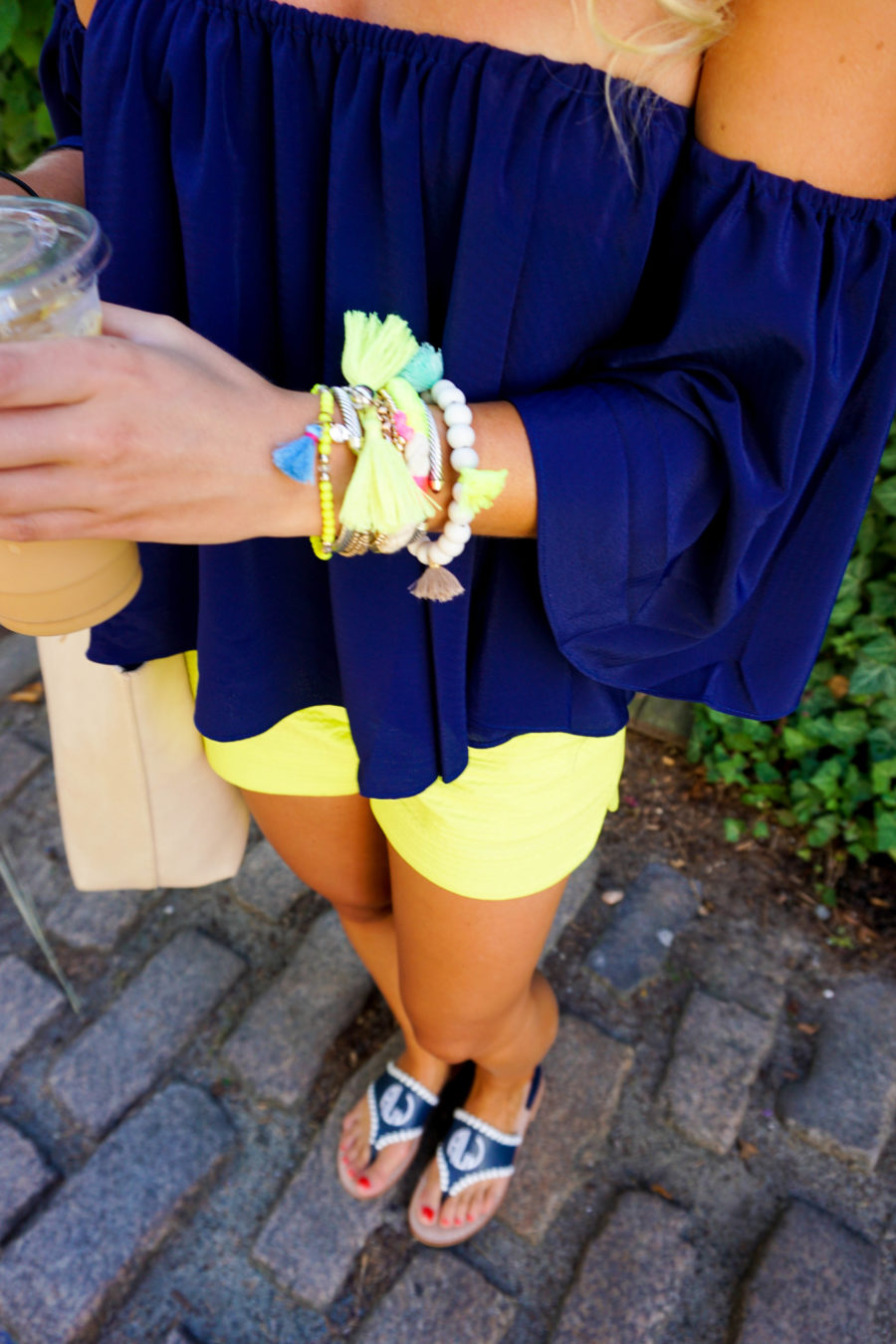 Coffee in Nantucket Off the Shoulder Top and Lilly Pulitzer Shorts-4