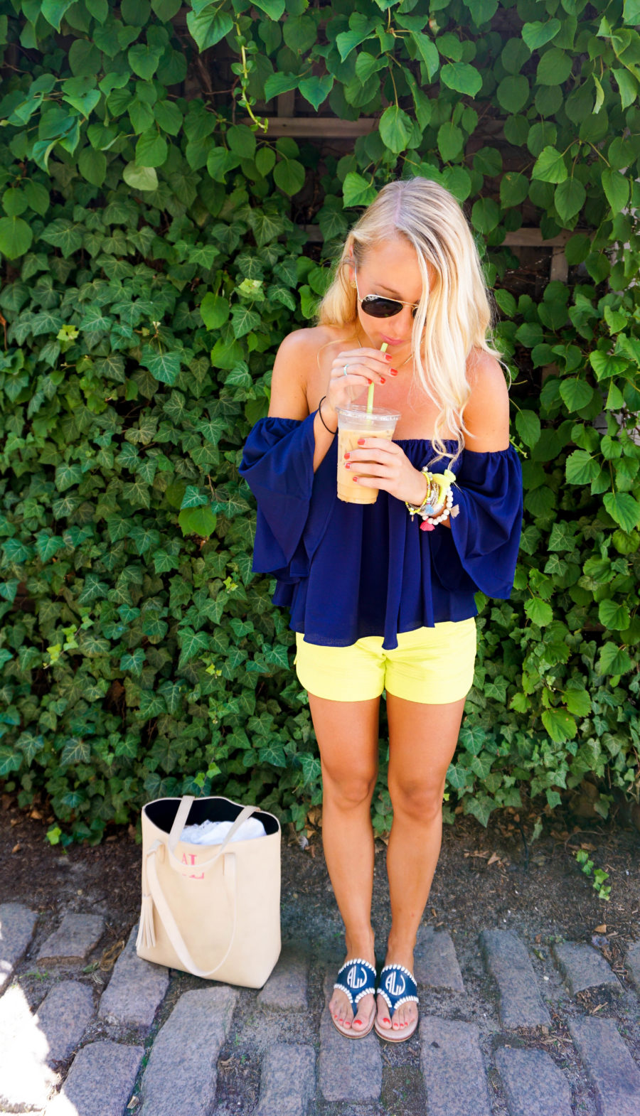 Coffee in Nantucket Off the Shoulder Top and Lilly Pulitzer Shorts-7
