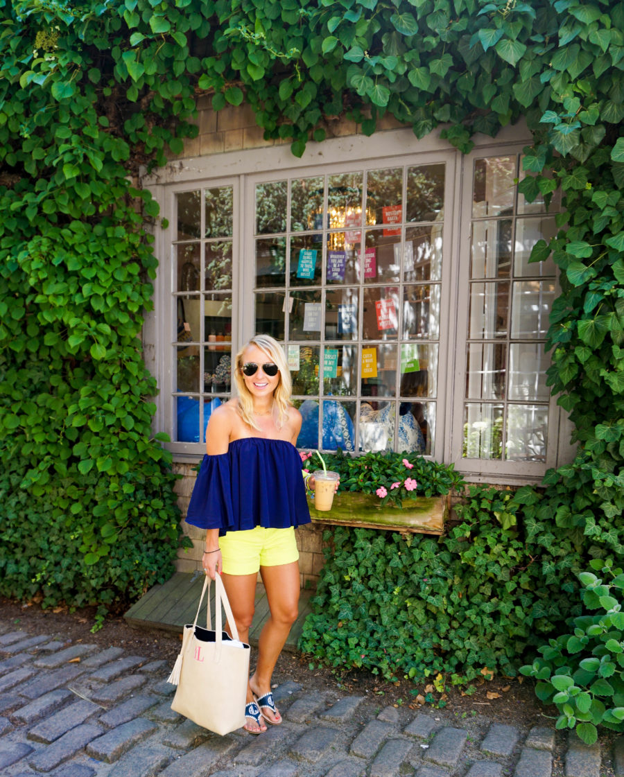 Coffee in Nantucket Off the Shoulder Top and Lilly Pulitzer Shorts