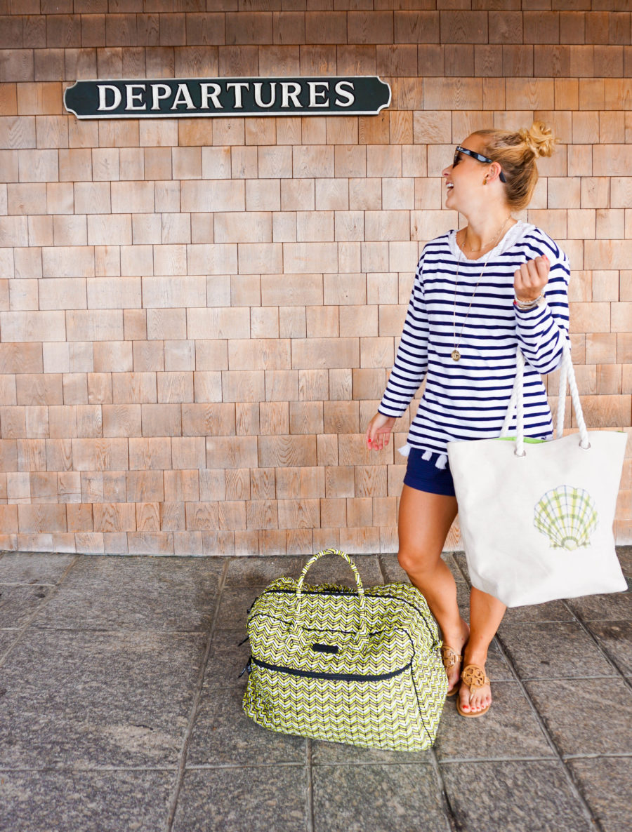 Travel to Nantucket Vineyard Vines Navy Stripe Top and Vera Bradley Duffle_-3