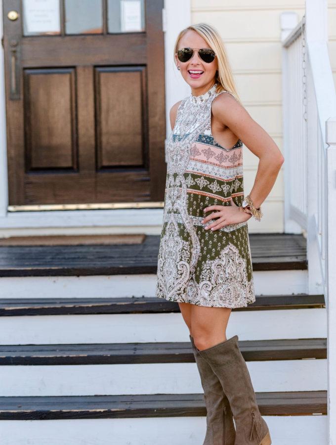 Transitional Fall Dress + OTK Boots
