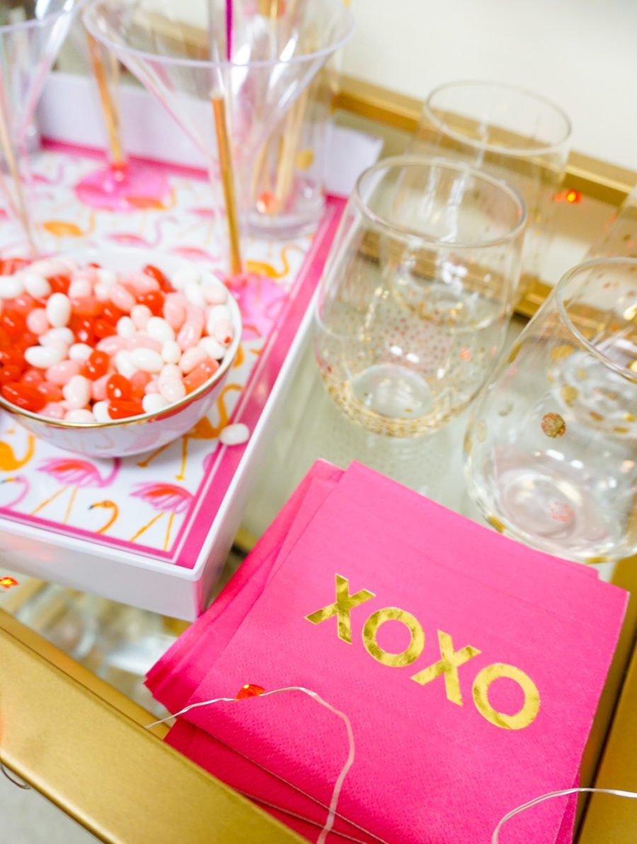 Valentine\'s Day Bar Cart - I Believe in Pink
