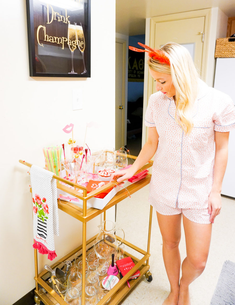 Amy from I Believe in Pink wearing Serena and Lily pajamas and styling a Valentine's Day bar cart-14