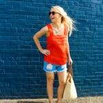 Amy Believe in Pink in J. Crew tank top with Annie Selke Co Fresh American bag