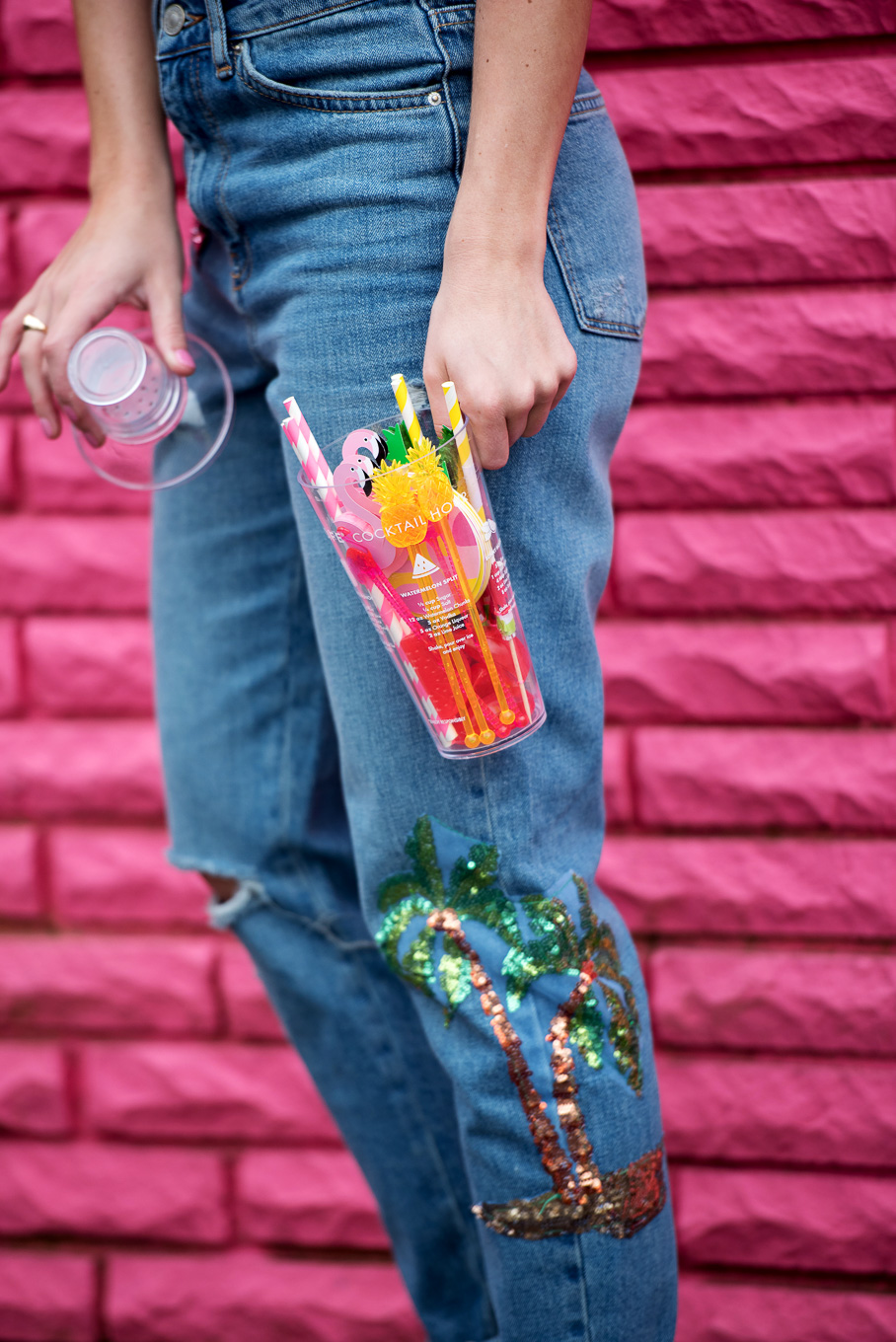 Amy Believe in Pink in Topshop sequin jeans and Tiny Tassel earrings and Sunnylife cocktail kit-2