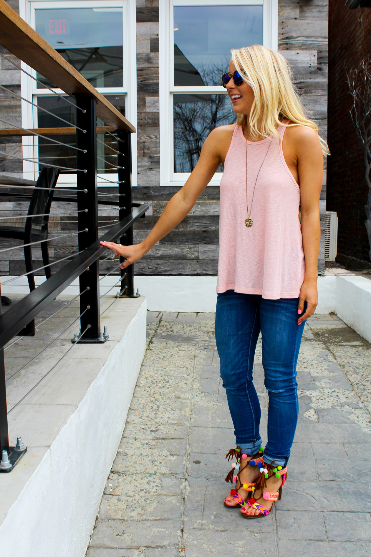 I Believe in Pink pom pom tassel heels and monogrammed disk necklace outfit-3