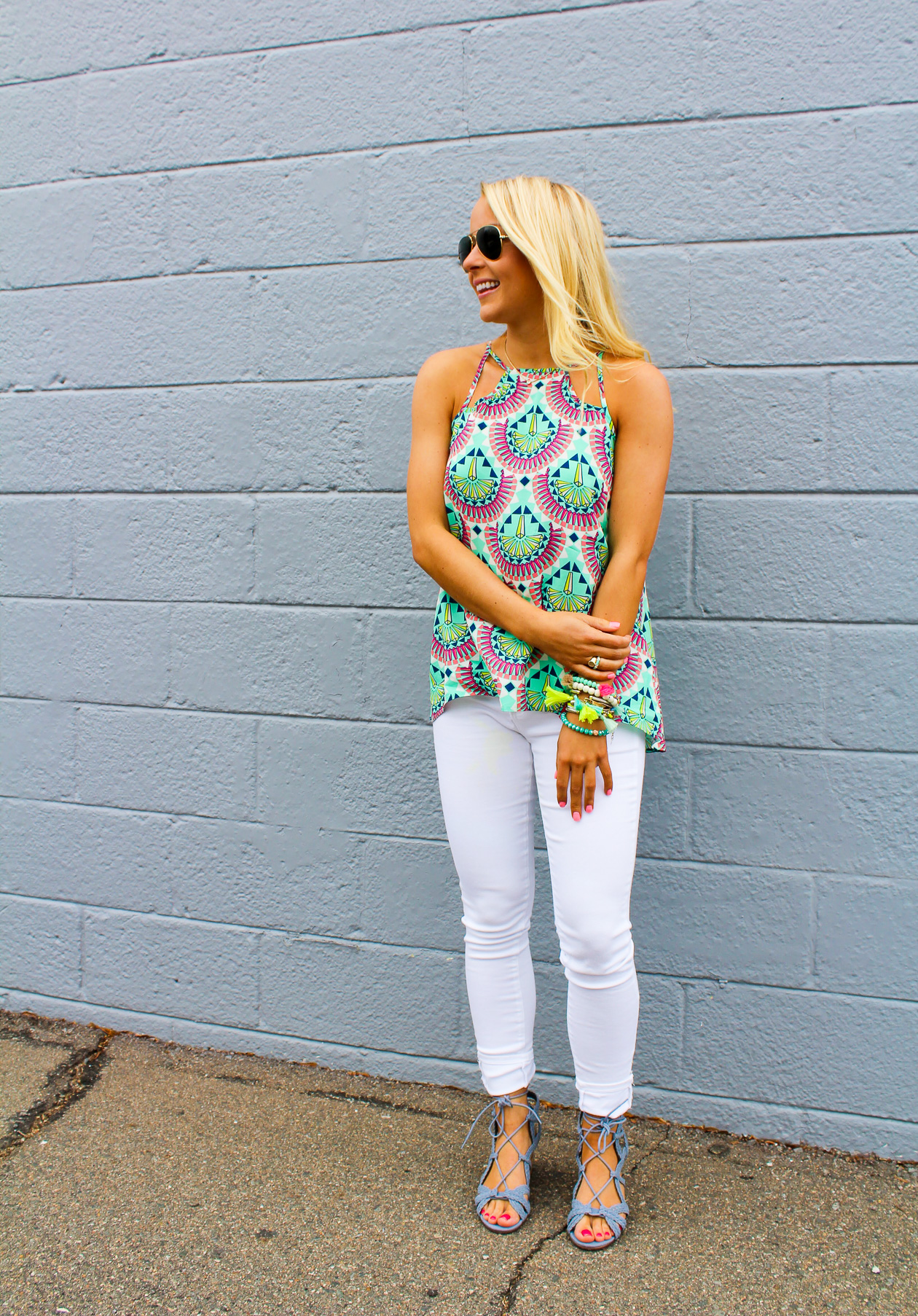 I Believe in Pink styling All for Color tank top, AG white jeans, and Indigo Rd cork wedges with tassel bracelets_-2
