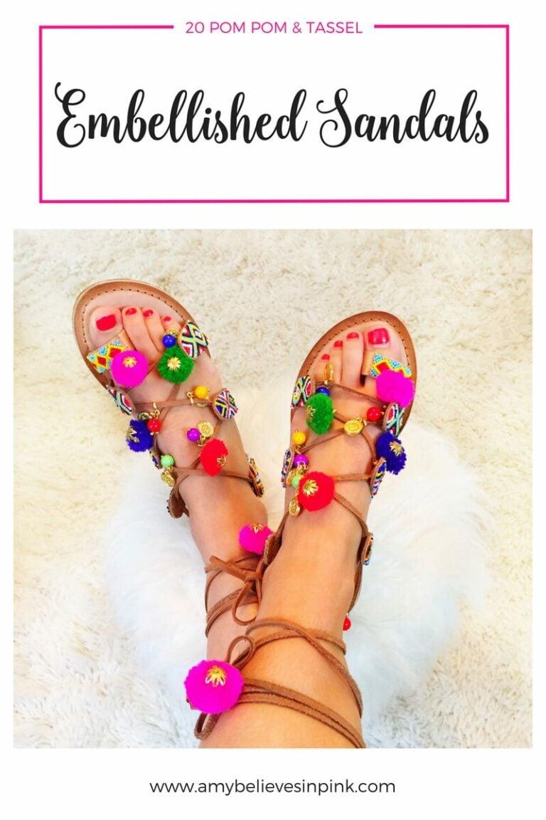 20 tassel and pom pom sandals