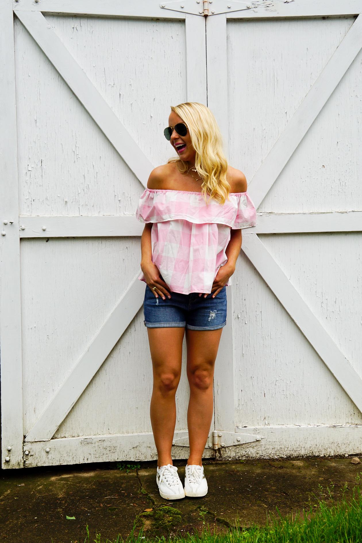 Lauren James buffalo check off the shoulder top for summer