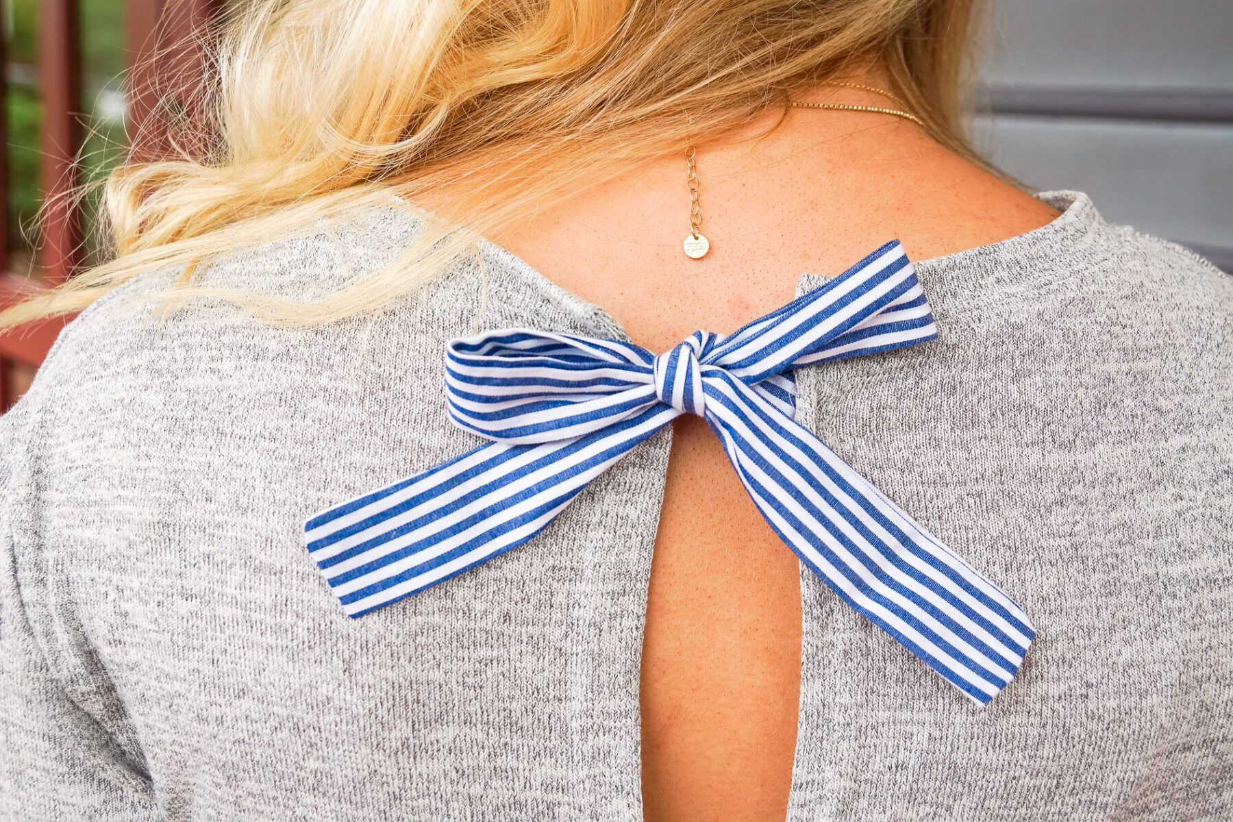 blue and white seersucker bow dress with monogrammed tote