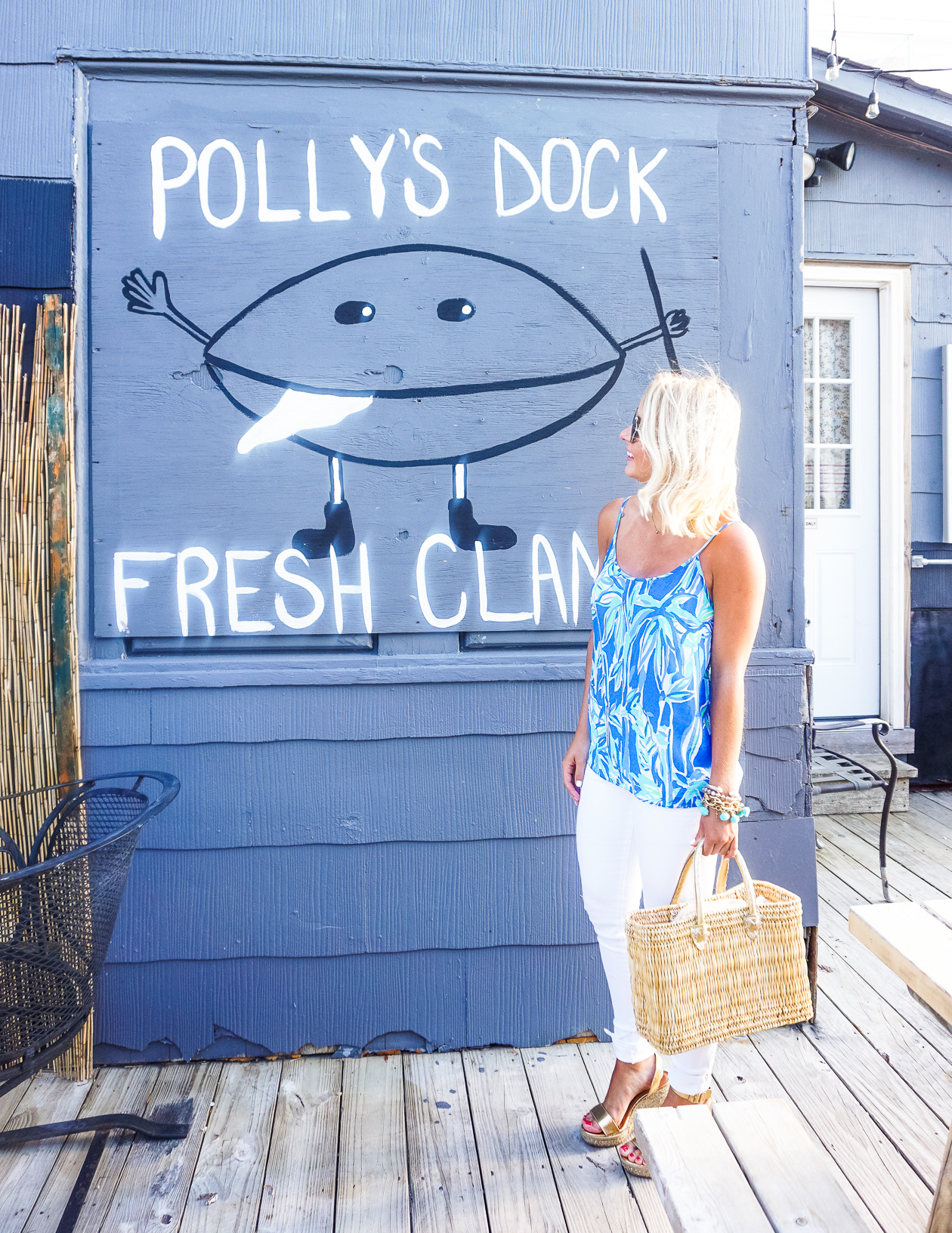 Coco and Duckie fiesta pom pom bracelet and Lilly Pulitzer tank top in Long Beach Island, NJ