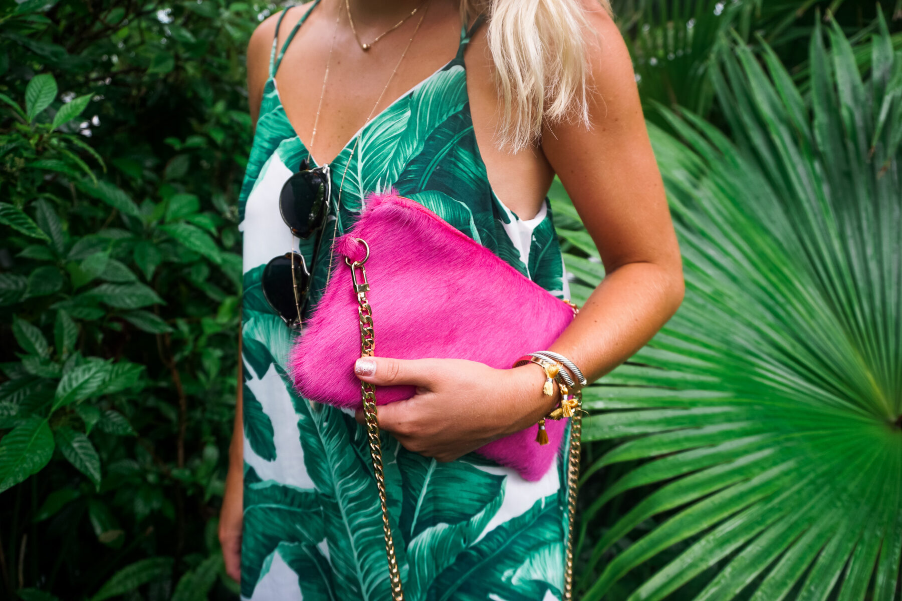 Parker and Hyde cowhide crossbody and banana leaf dress in Vero Beach, Florida-6
