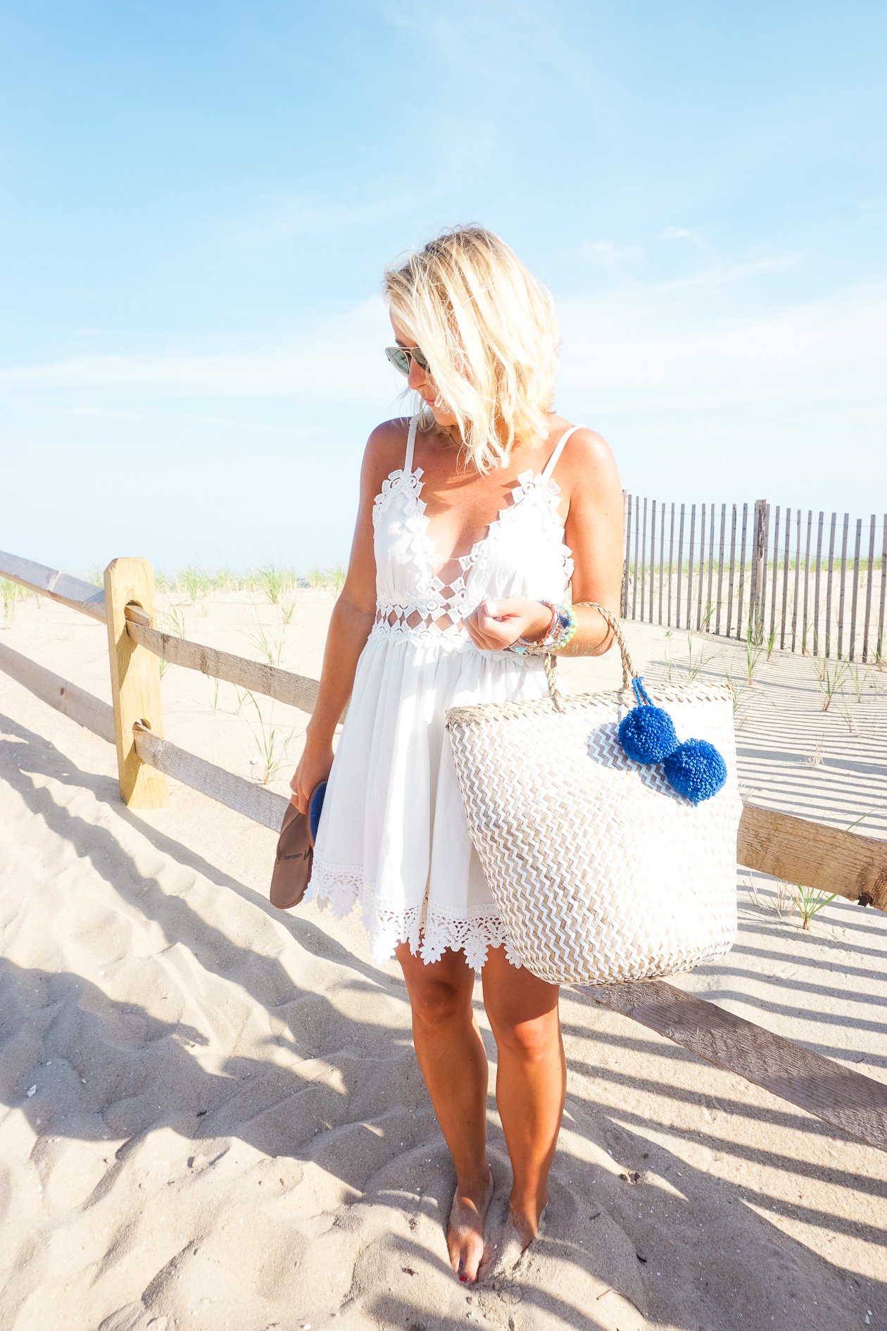 White crochet dress with Hari Mari sandals and I Believe in Pink boutique pom pom straw tote-4
