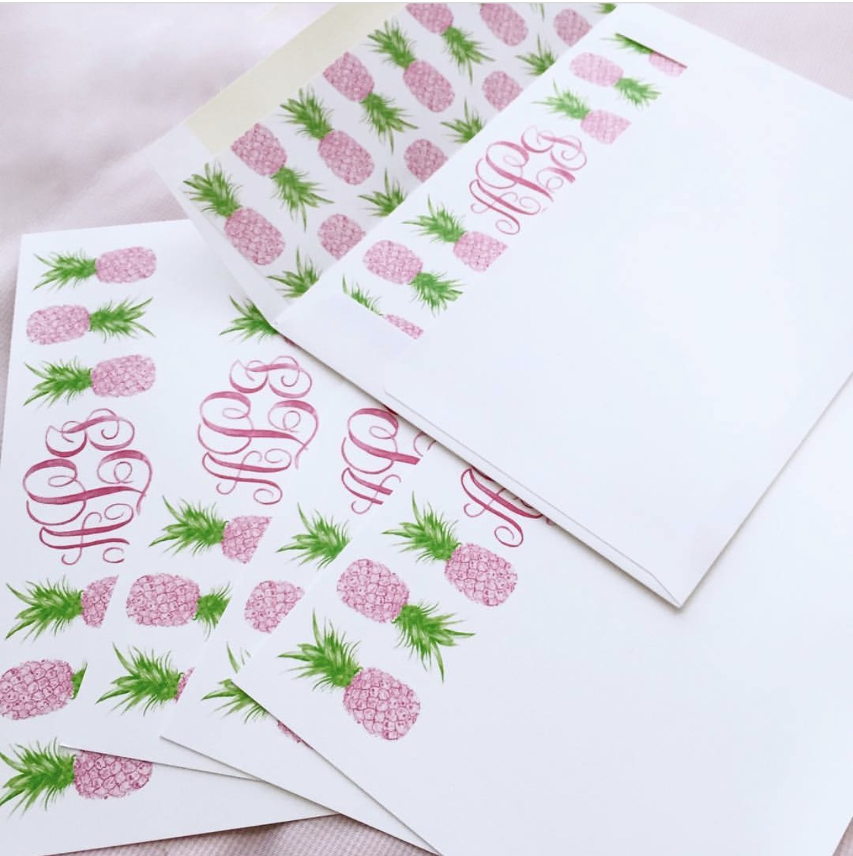 pineapple custom watercolor stationery