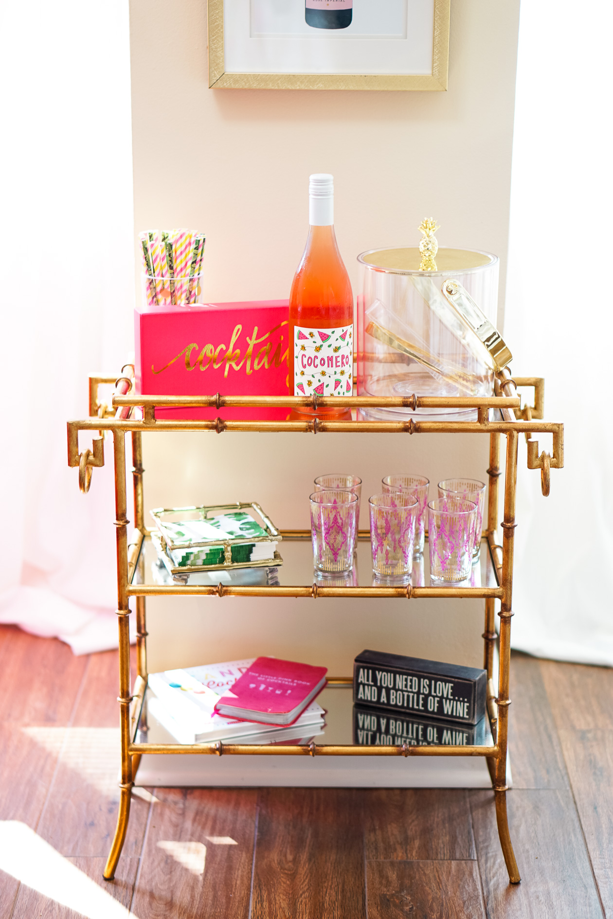 Our Apartment Summer Bar Cart - I Believe in Pink