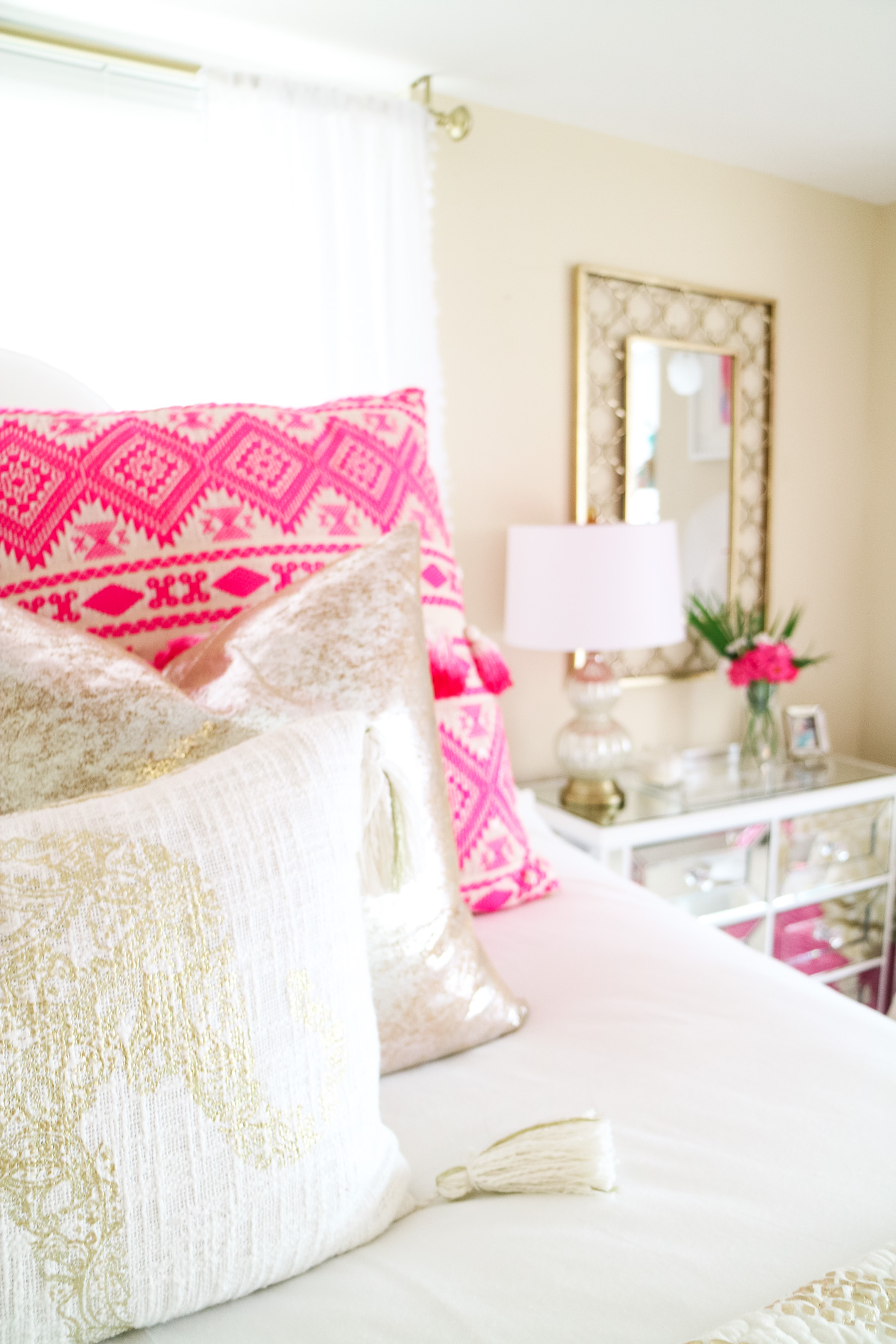 White, pink, and gold bohemian glam apartment in Philadelphia, PA
