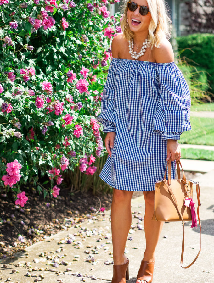 Gingham Dress & Pearl Necklace