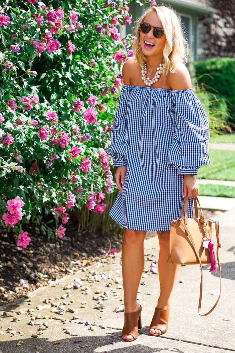 navy off the shoulder gingham dress and bauble pearl necklace from Prep Obsessed_