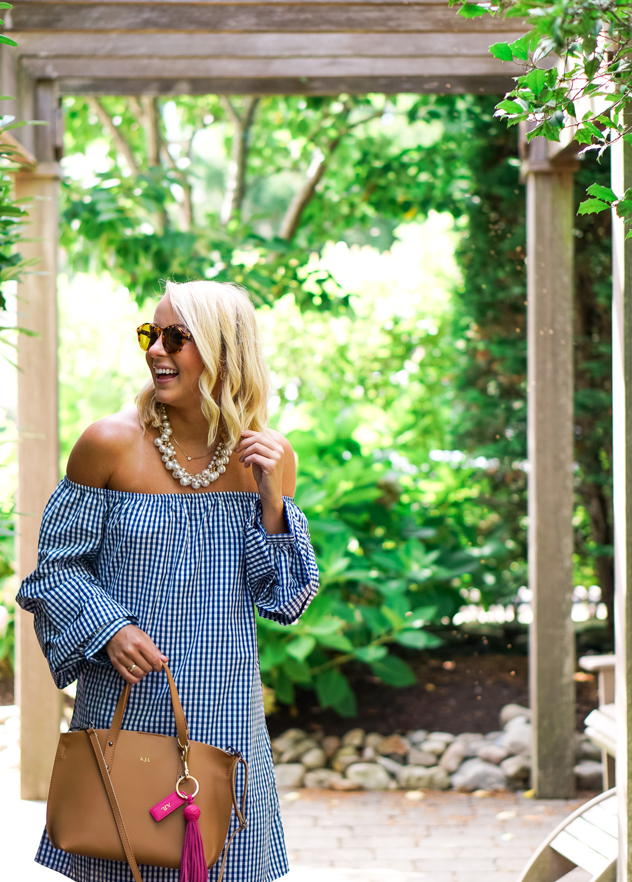 navy off the shoulder gingham dress and bauble pearl necklace from Prep Obsessed