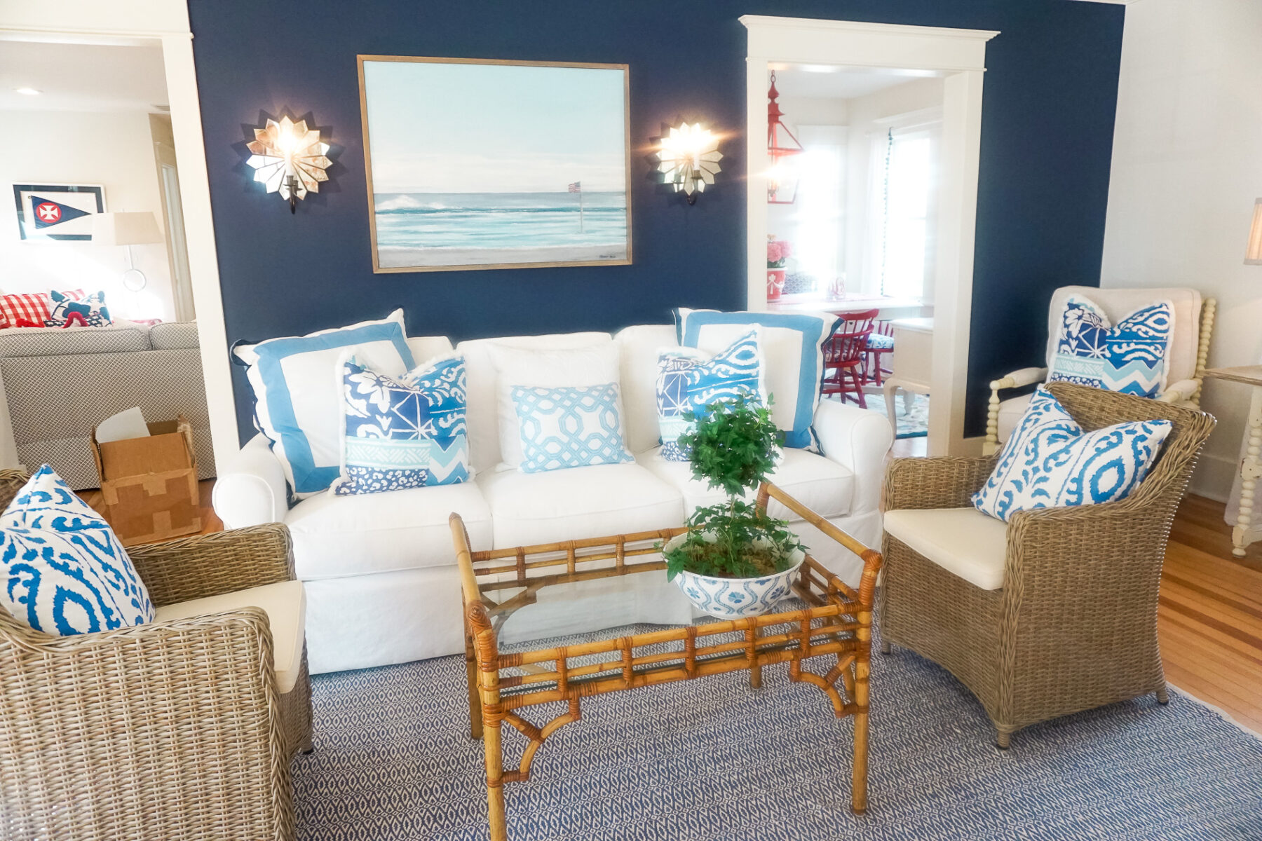 Beach House red white and blue decorations in living and ...