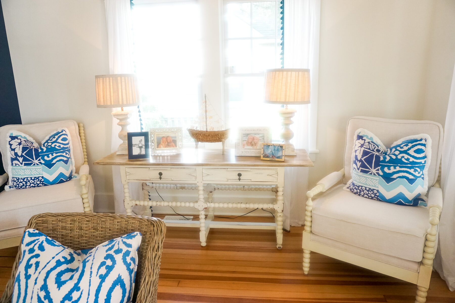 Beach House red white and blue decorations in living and family room ...