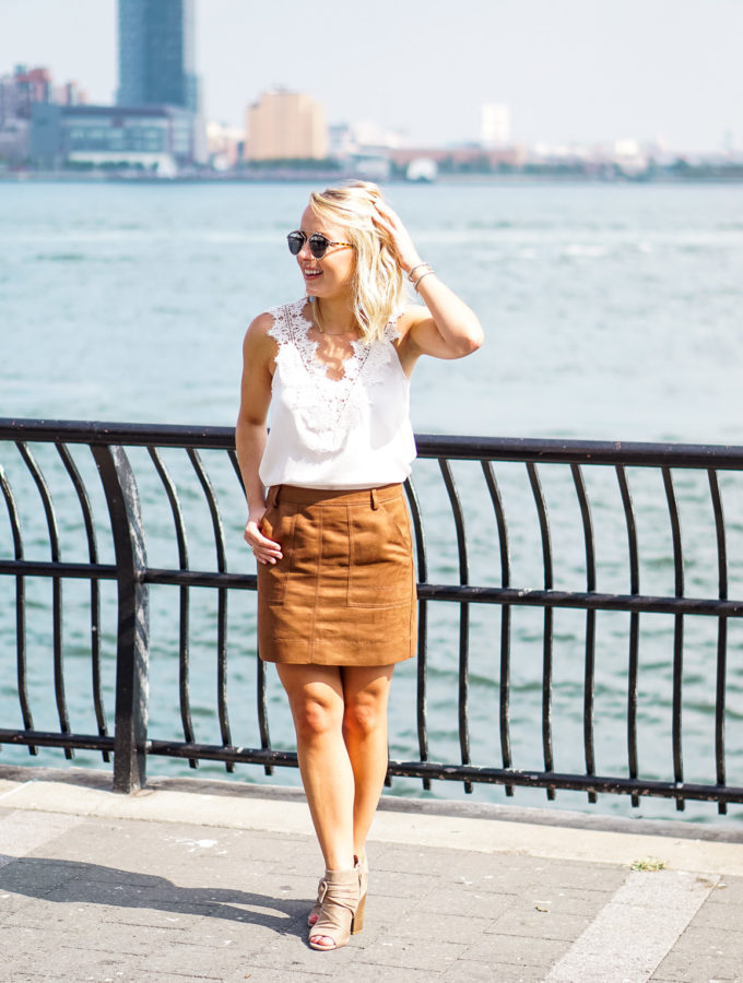 Lace Top & Faux Suede Skirt