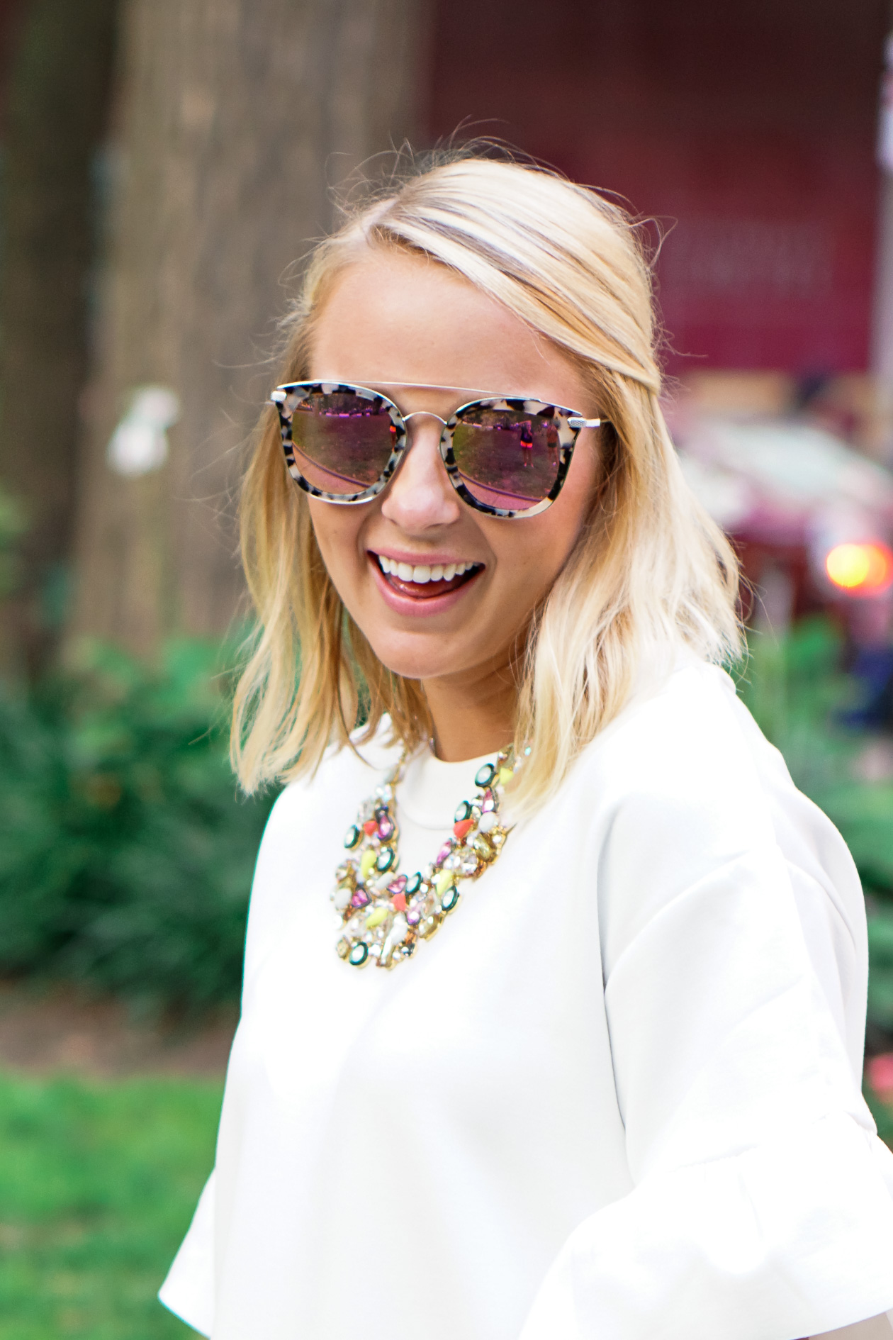 White Halogen ruffle dress and Diff tortoise sunglasses with J. Crew statement necklace