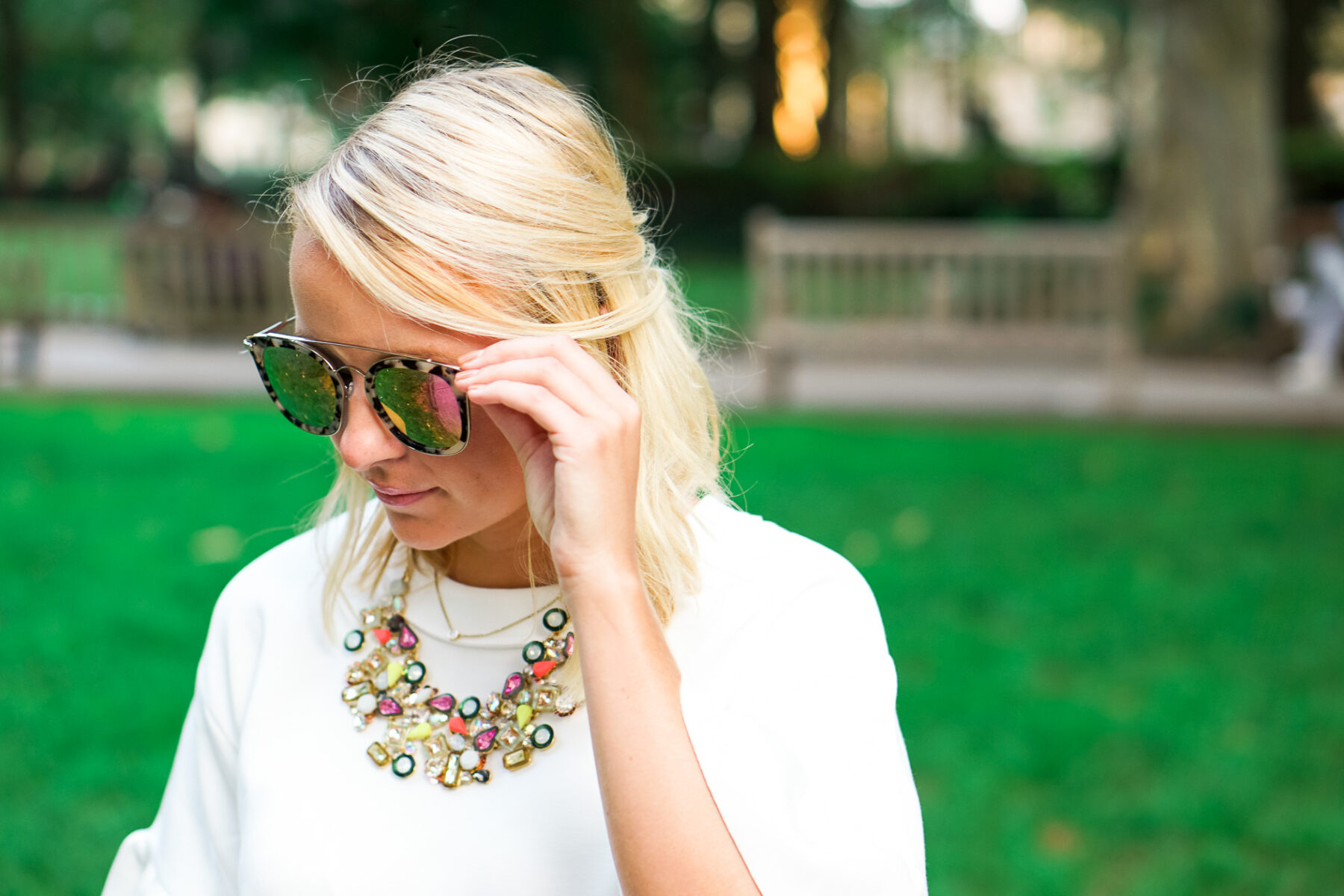 6c1bcd2a20 White Halogen ruffle dress and Diff tortoise sunglasses with J. Crew  statement necklace