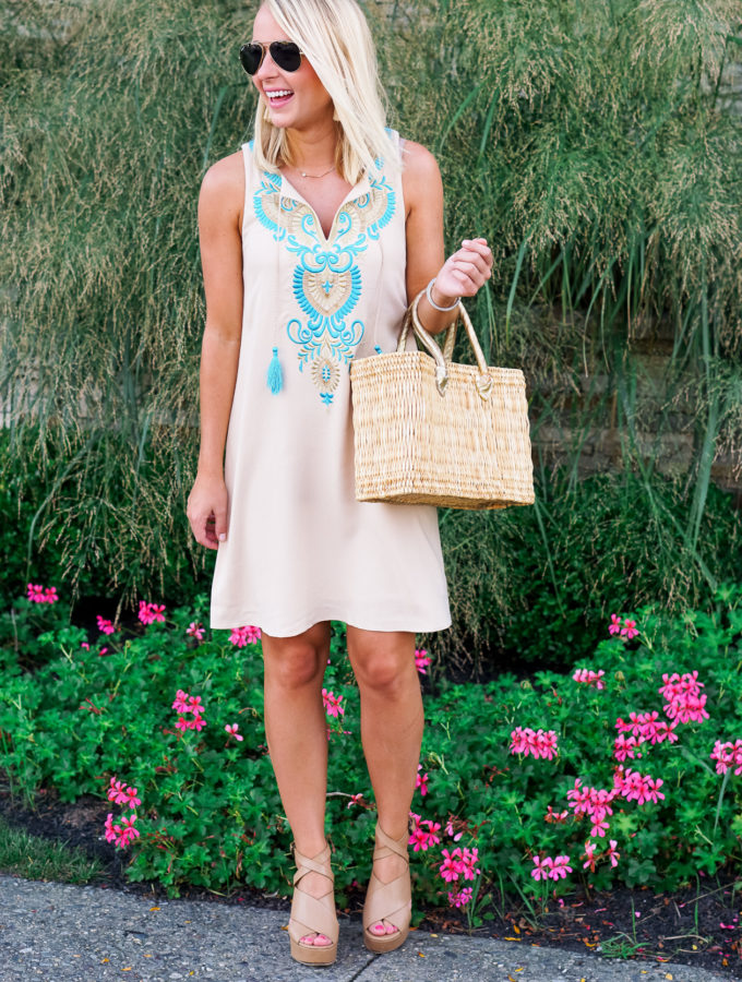 Embroidered Dress & Straw Bag