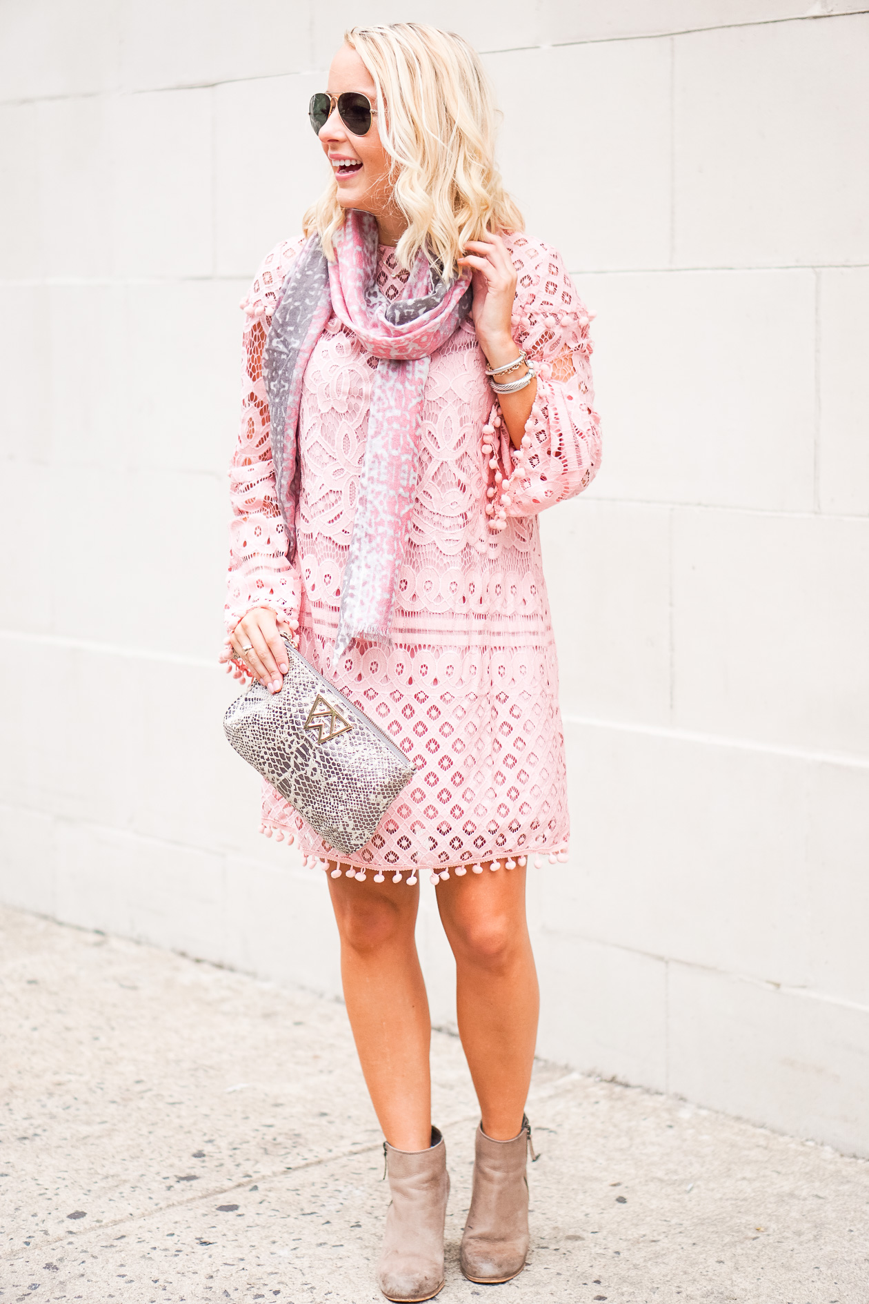 Lace pom pom dress with booties and leopard scarf