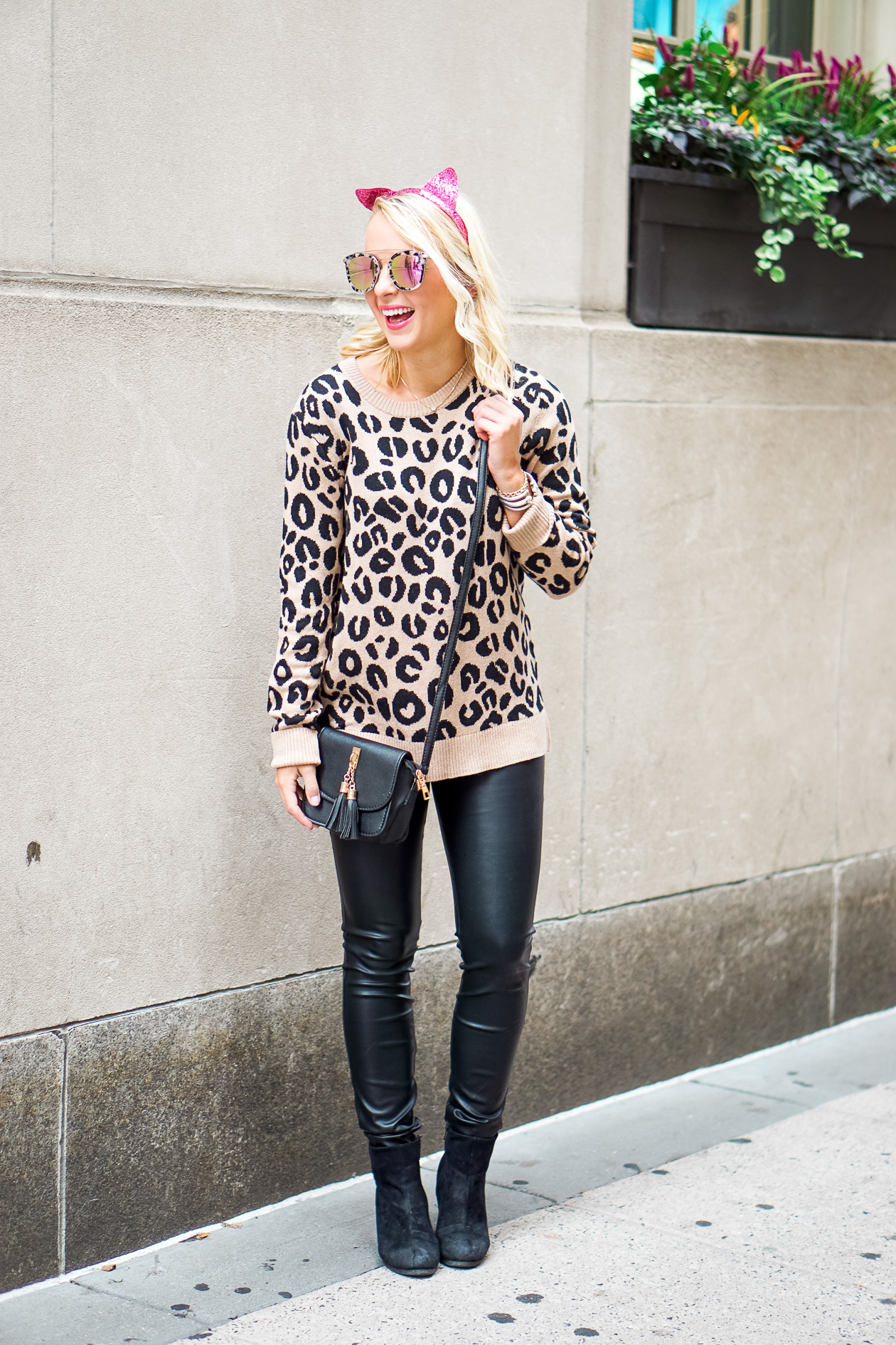 fd11be7afffe Leopard sweater and black faux leather pants with pink sequin cat headband