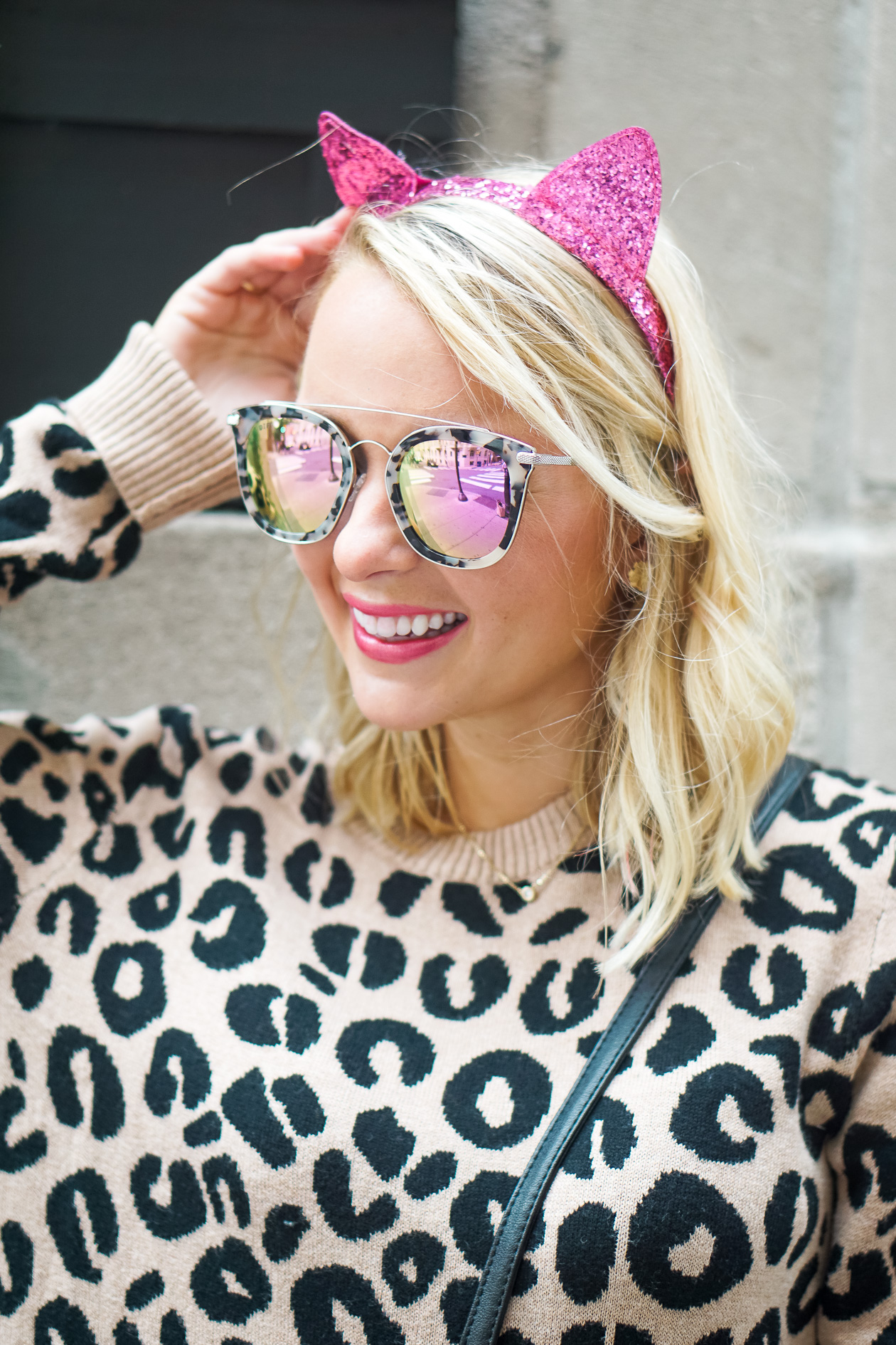Leopard sweater and black faux leather pants with pink sequin cat headband