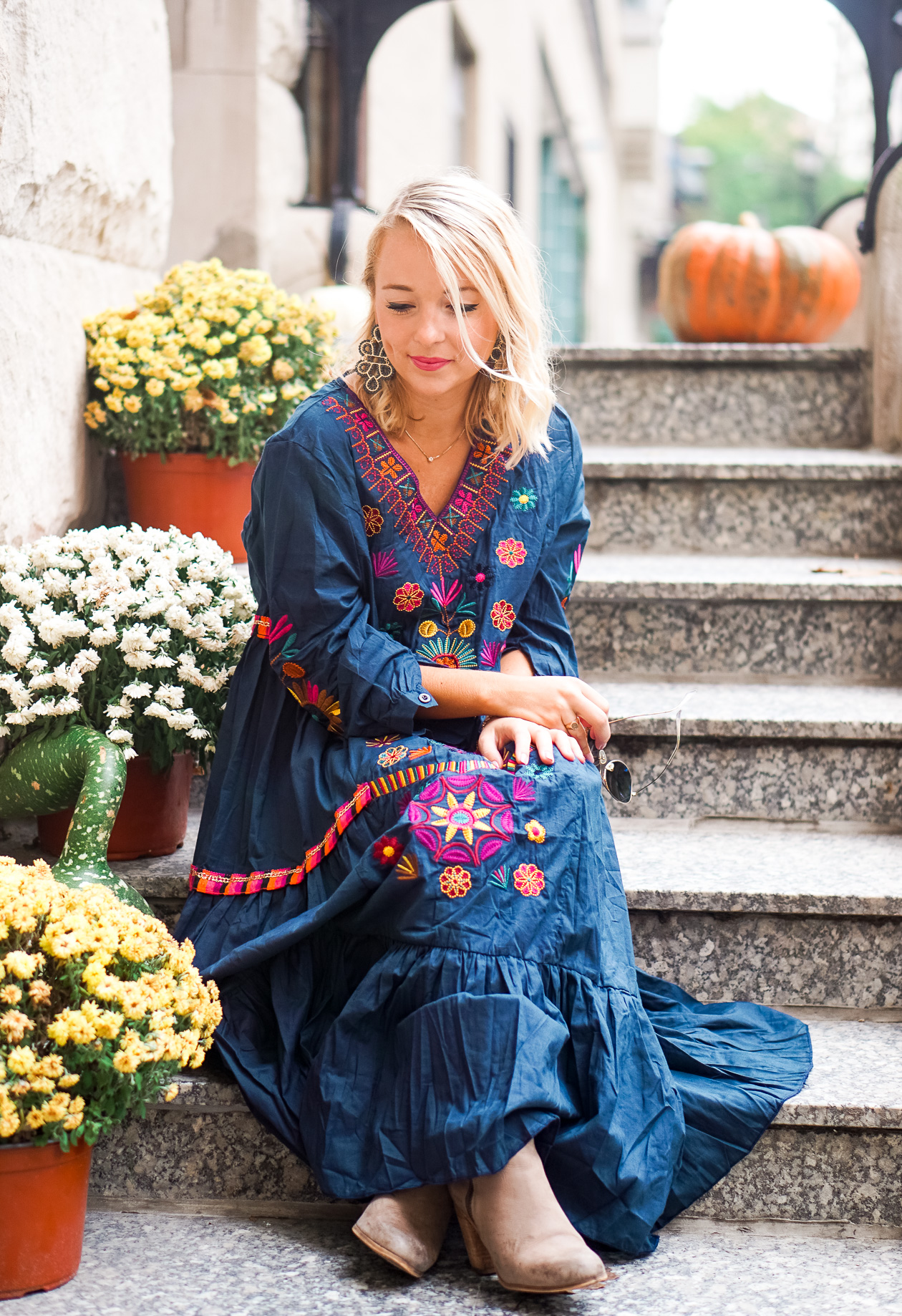 Navy embroidered maxi dress with gray booties