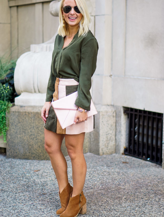 Patchwork Faux Suede Skirt