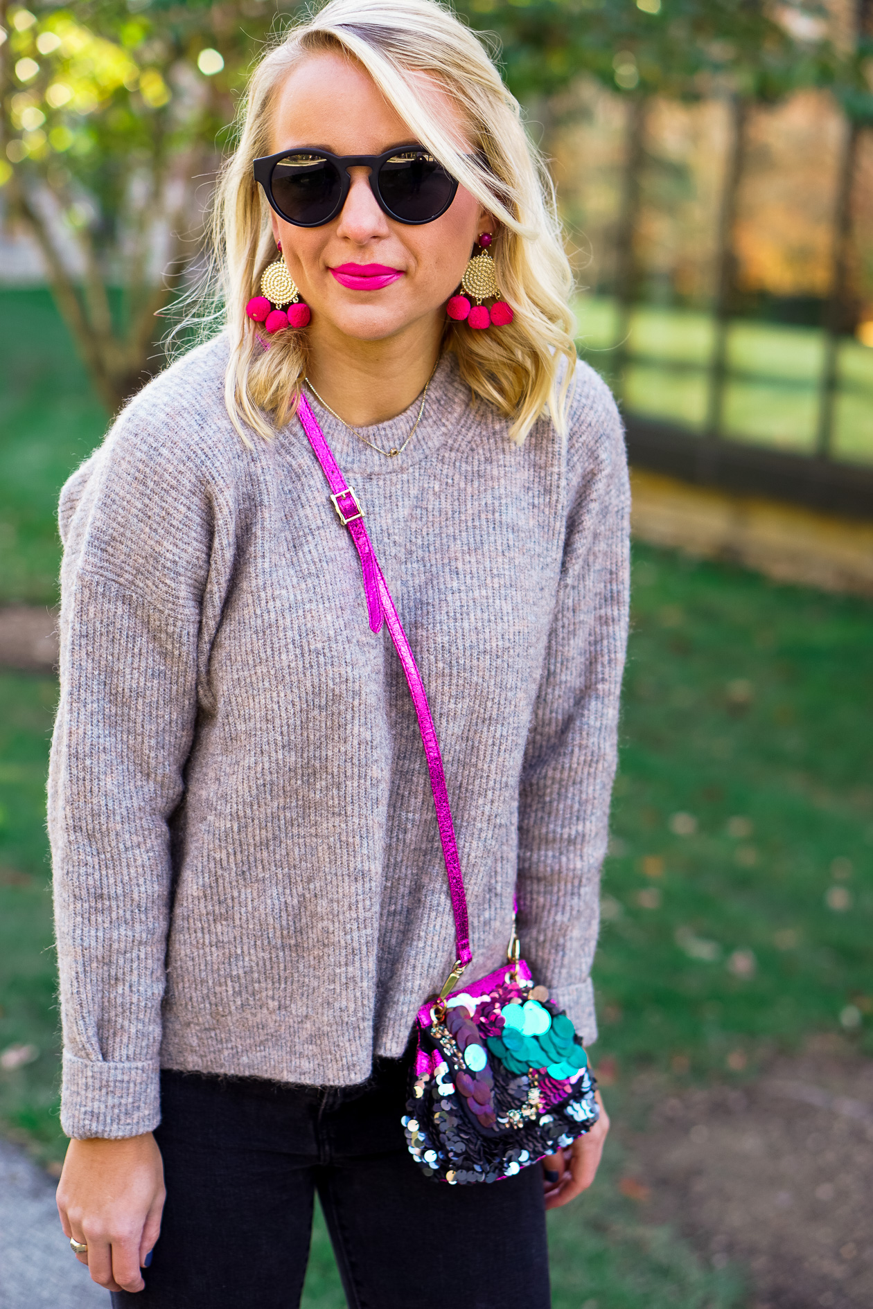 Free People sequin bag and olive green booties with Sugarfix by BaubleBar earrings