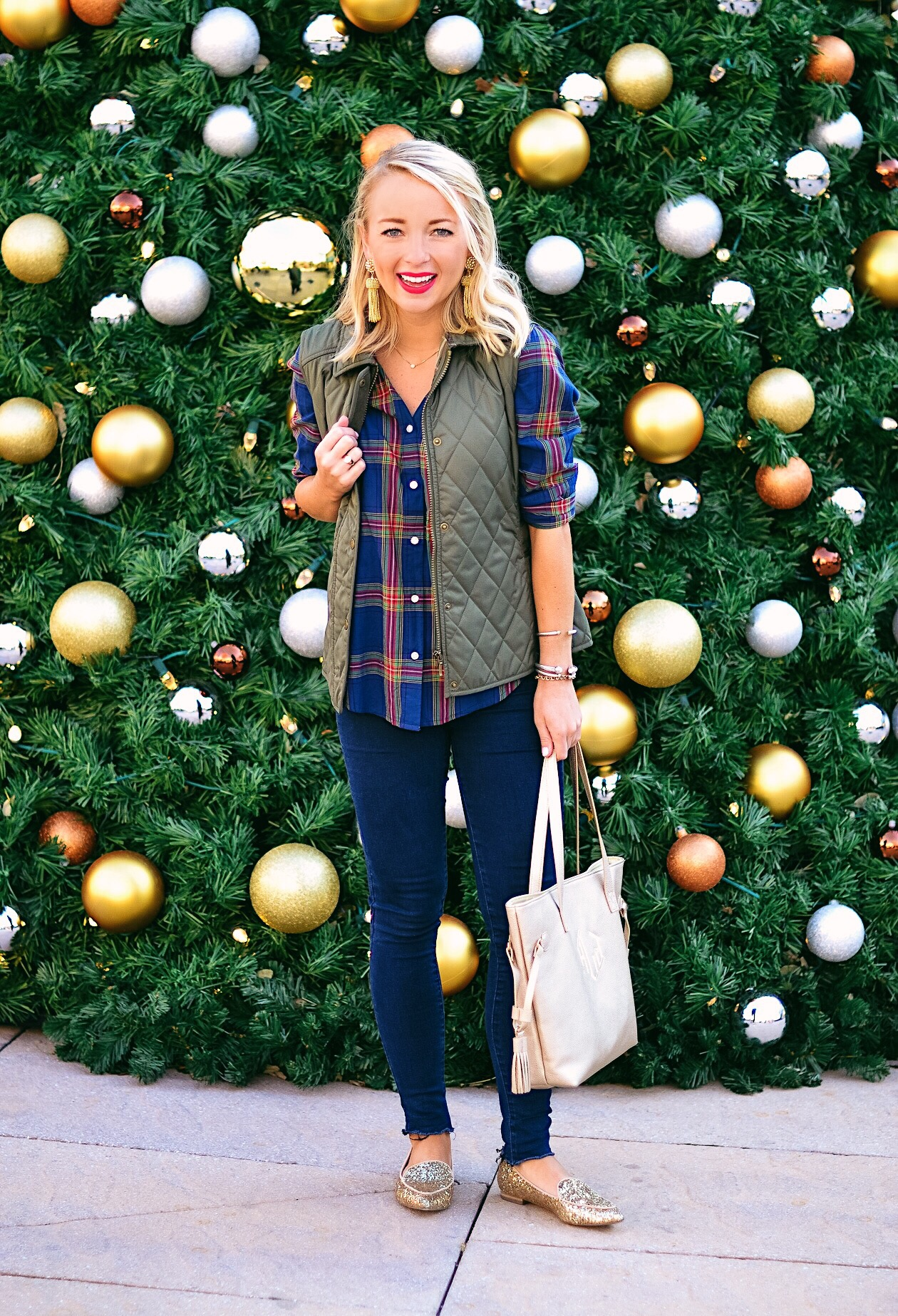 Plaid top and quilted vest with gold glitter flats