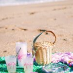 Tropical oceanside flamingo picnic