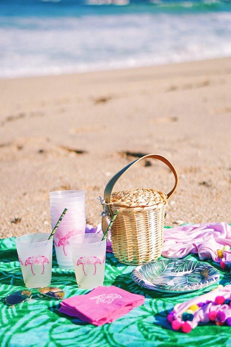 Tropical oceanside flamingo picnic
