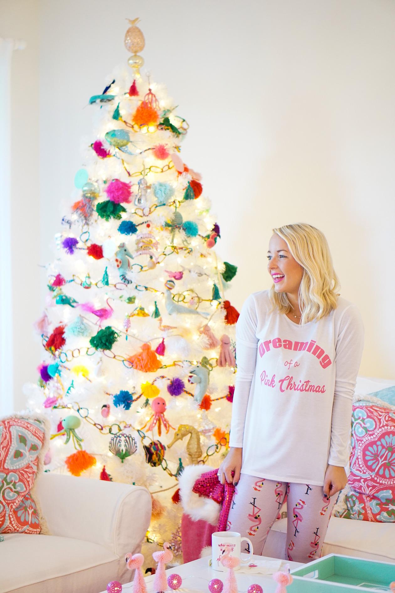 White Christmas tree and sea creature tree ornaments