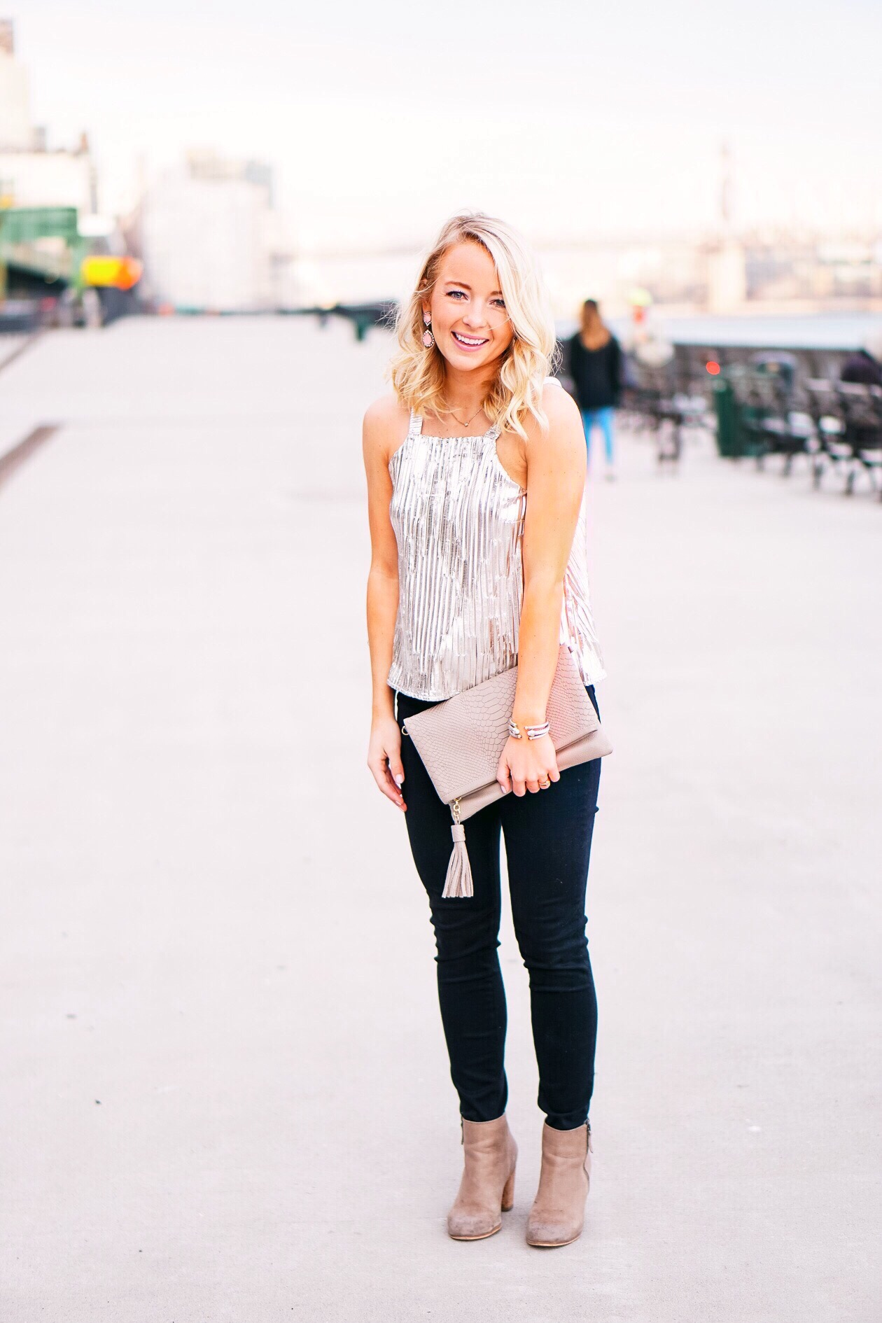 Silver shimmer top with Gigi New York monogrammed clutch