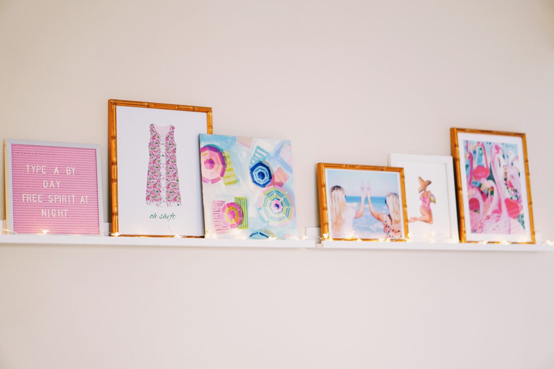 Floating shelves with colorful prints