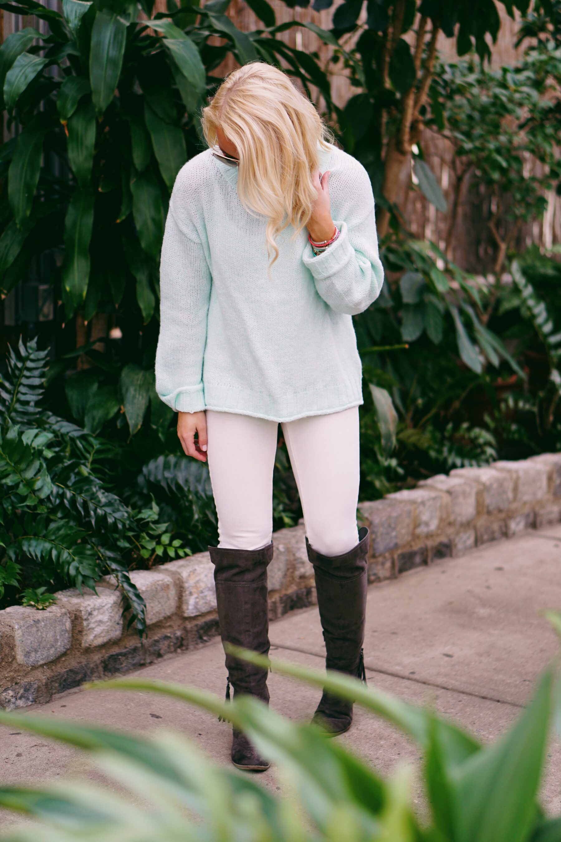 Mint Nordstrom sweater and J. Crew coat