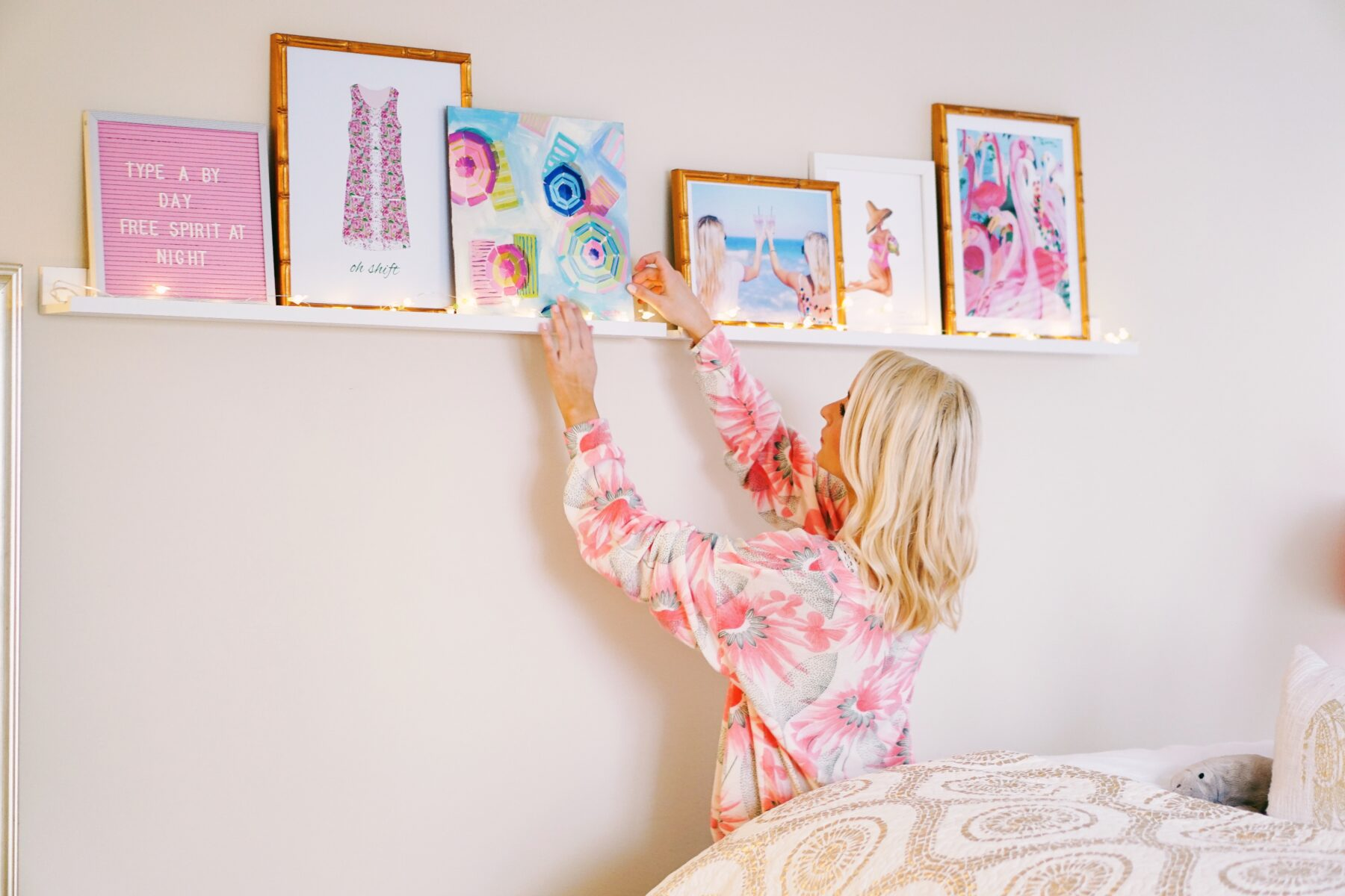 3 Tips for A Floating Shelf Gallery Wall - I Believe in Pink