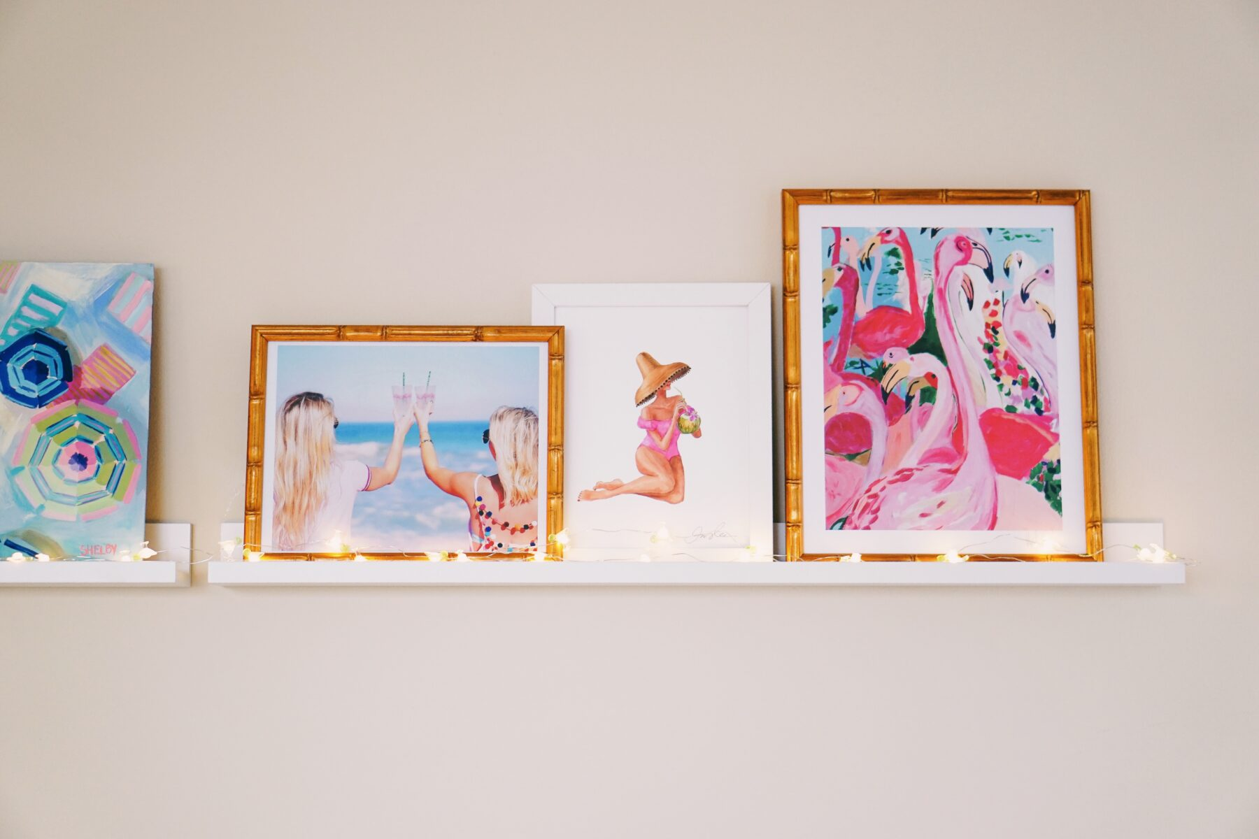 Floating shelves with tropical prints