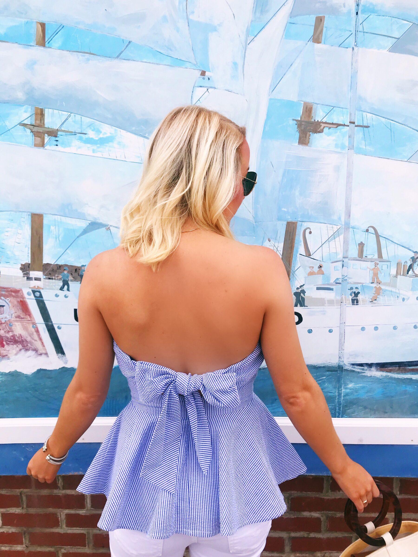 Lauren James stripe seersucker top with bow